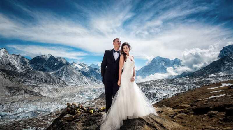 Эта пара провела свою свадьбу на горе все время, и фото безумно